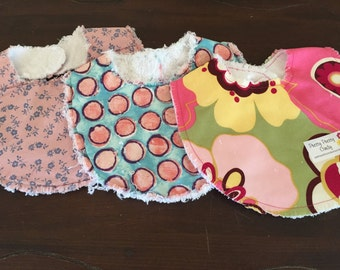 Baby Bibs Set of 3 Flowers and Polka Dots