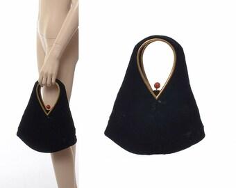 Vintage 60s Bobbie Jerome Black Velvet Teardrop Bag 1960s Velveteen Gold Tone Trim Purse Lucite or Bakelite Clasp Rockabilly Handbag Clutch