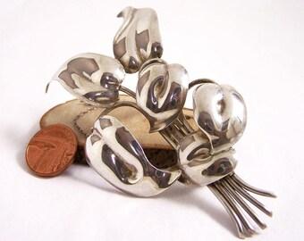 Vintage Silver Leaf Brooch, Silver Brooch, Leaves Brooch, Plant Brooch, Organic Silver Brooch, Silver Branch Brooch