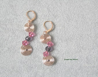 Pink and lavender mauve spiral dangle earrings, Czech beads, lavender earring, pink, pretty in pink, handmade, gift under 20, GBT231