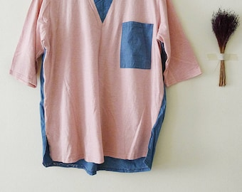 100% cotton cute 2 tones oversized peach // white stripe at front and blue chambray at back t-shirt,kawaii,short sleeve,zakka style,S-M-L-XL