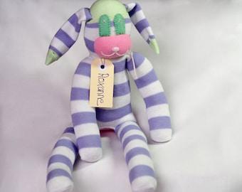 Sock rabbit, sock animal, soft plush toy bunny. Roxanne Rabbit. Softie bunny rabbit.