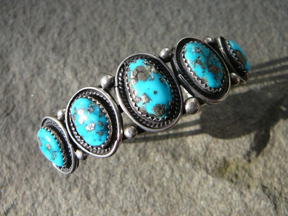 Turquoise and Silver 5 Stone Cuff, Dead Pawn Handmade Turquoise Bracelet, Native American Turquoise Jewelry, Navajo Dead Pawn Turquoise