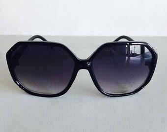 Vintage Shiny Black Hexagonal Frame Sunglasses