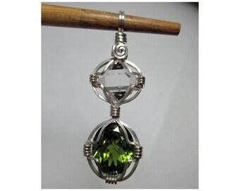 4.0 ct. Faceted GREEN TOURMALINE & HERKIMER Diamond Pendant  - Argentium Silver Wirewrap - ww1050