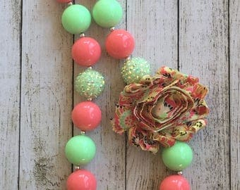 Coral and Foam green rosette necklace