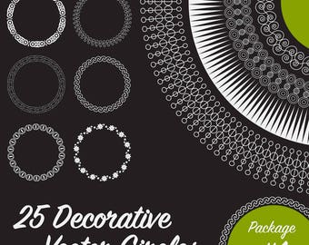 25 Decorative Circles, Vector Art (Package 1)