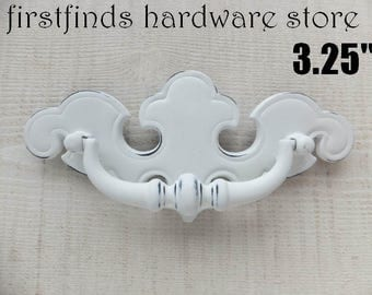 1 Chippendale Swing Handles White Shabby Chic Furniture Hardware Painted Dresser Drawer Cabinet Cottage Pull 3.25inch ITEM DETAILS BELOW