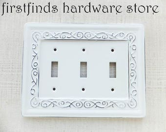 light switch plate cover shabby chic distressed white swirls triple toggle metal framed electrical decorative painted