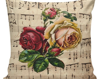Valentine Pillow, Rose Pillow, Romance, French Style Throw Pillow Cushion Cotton with Cotton or Burlap Back #SP0208 Elliott Heath Designs