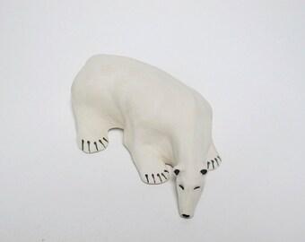 Polar Bear, Ceramic Bear, Hand Made Polar Bear, Animal, Bear Fetish