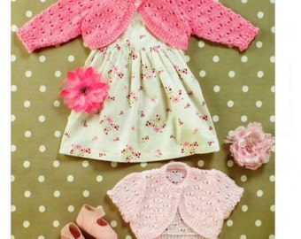 BABY knitting pattern girls   cardigan KNITTING PATTERN girls / baby bolero 16/26 in chest dk