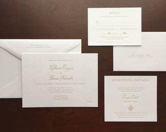 Art Deco Taupe Blind Deboss Letterpress Wedding Invitation