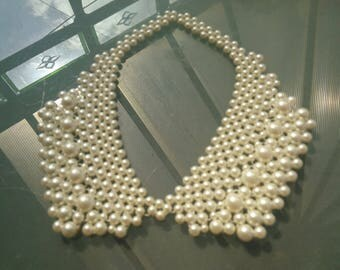 All pearls collar necklace beautiful handcrafted vintage with adjustable ribbon ties