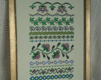 Floral Beaded Cross Stitch Sampler