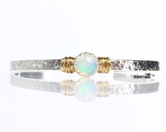 Welo Opal Bracelet / October Birthstone Gift for Wife / Genuine Ethiopian Opal Sterling Silver Cuff / 14k Gold Filled Opal Bracelet