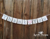Thank you heart banner - Thank you banner - photo prop - wedding decoration- Light pink heart- lower case letters - romantic - IATY125