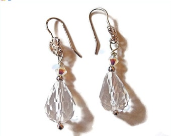 SALE - 25% Off Original Price Swarovski Crystal and Sterling Silver Dangle Earrings