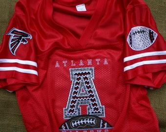 Atlanta Falcons Inspired Custom Bling Embroidered Jersey, Fan Shirt, Spirit Jersey