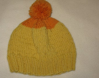 Knit Wool Beanie - Orange and Yellow - medium (toddler - small child)