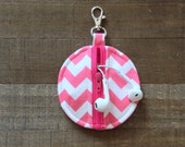 Hot Pink and White Chevron Circle Zip Earbud Pouch / Coin Purse