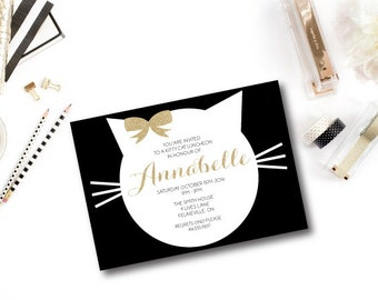 PURRfect Gold Kitty Cat Printable Party Invitations : Printable Party Designs by The Paper Doll