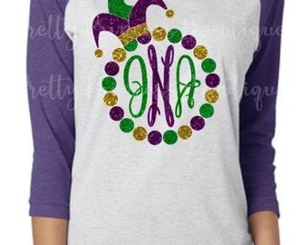 Mardi Gras Shirt | Mardi Gras T-Shirt | Monogram Shirt | Glitter Monogram | Glitter Mardi Gras | Womens Mardi Gras | Jester Hat | Raglan Tee