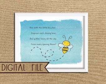 Bee Printable Digital Download Nursery Wall Art, Bumblebee Print, Bumbleebee Nursery Decor, Bee Baby Print, Save the Bees, Instant Download