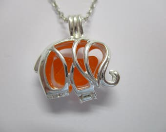 GENUINE SEA GLASS Necklace Sterling Silver Elephant Locket Rare Orange Real Surf Tumbled Natural Beach Found Seaglass Pendant Jewelry N 735a