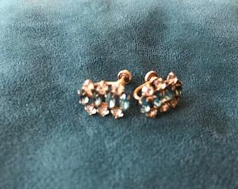 Vintage earrings sea blue tone