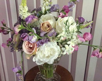Artificial Silk Flower Arrangement Vintage Vase
