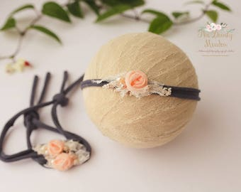 blue, peach and pearls flower headband/newborn prop, photography prop, newborn headband, newborn prop, baby headband