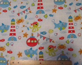 Blue Ocean Under the Sea Flannel Fabric by the Yard