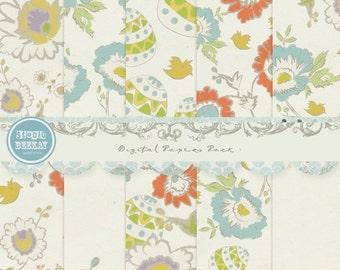ON SALE Digital Scrapbook Paper Pack 12x 12 in , 300 dpi ( 3600X 3600 ) Cu ok vol.36 - Instant Download
