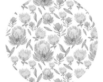 Protea Black & White Patterned Art Print A3