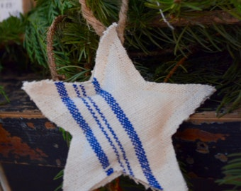 Vintage European Grain Sack Blue or Red Striped Star Ornament