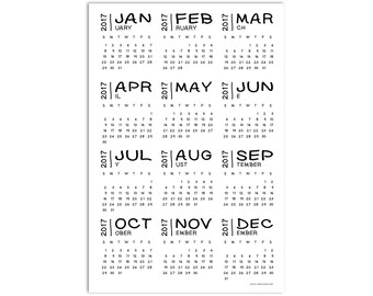2017 Wall Calendar, Simple Black and White Office Accessories, Contemporary Yearly Calendar, Basic Calendar Poster Print