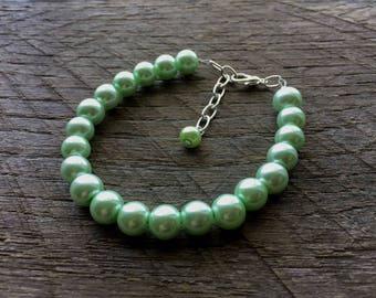 Green Pearl Bracelet Mint Bridal Bracelet One Single Strand Simple Pearl Bracelet on Silver or Gold Chain