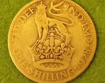 1928 Silver British One Shilling Coin
