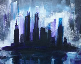 Art Print, Gloom, Colorful Dark Rainy Moody City Art