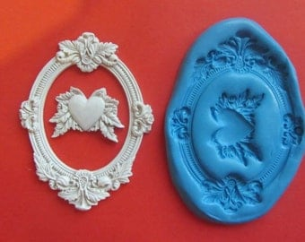 Frame with heart silicone mould