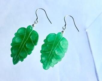 Green jade earrings- leaf earrings- botanical- natural jewelry