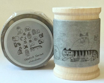SALE Designer Lisa Larson Cat Sketches Wide  Washi/Masking Tape 35mm width x 2 yards.