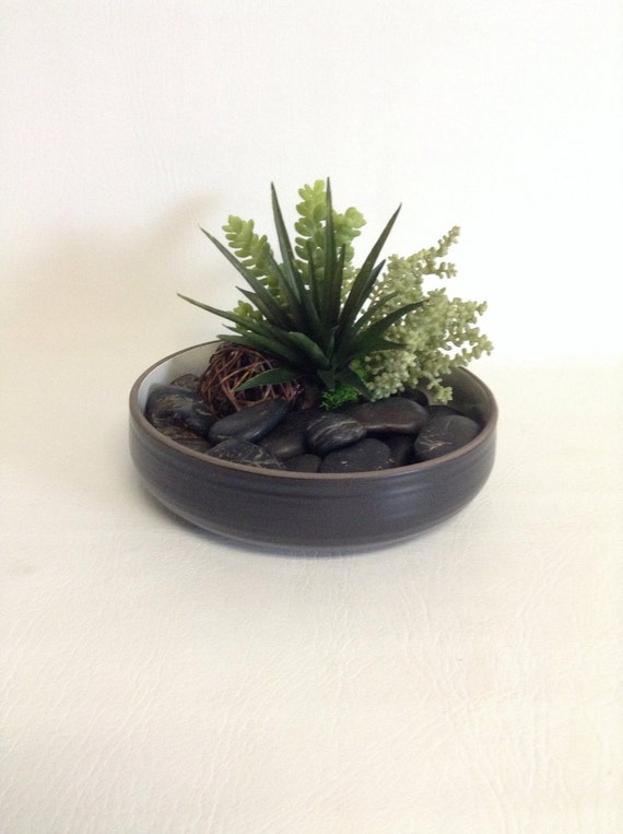 Succulent Dish Garden / Black Bowl / Faux / Artificial / Succulent Arrangement