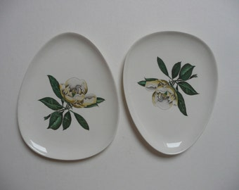 A pair of vintage Gray's Pottery Made in Stoke on Trent England D596 oval/egg shaped plates 1940's Magnolia pattern