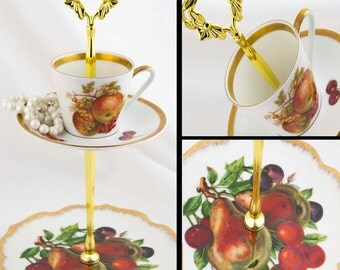 Teacup Stand Jewelry Display Fruit Plates Autumn Harvest Tea Cup Jewelry Dish 2 Tiered Serving Tidbit Tray Hostess Housewarming Gift