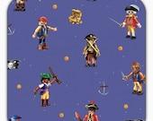 SALE Cotton Jersey fabric, Playmobil, pirate, blue 50 cm