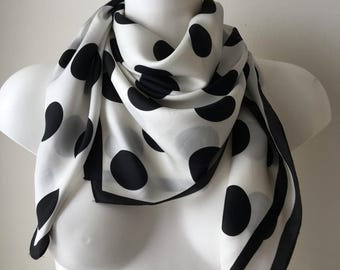 White scarf black polka dots spotted scarf large polka dot shawl monochrome scarf minimalist headscarf neck scarf 34 by 33 inches