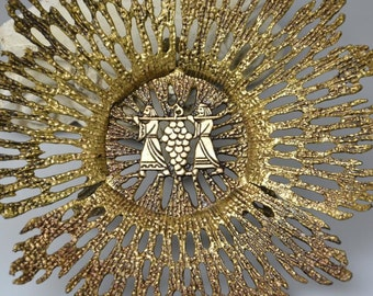 Vintage Collectible Wainberg Brass Plate Made in Israel Mid Century Judaica Sabbath Art Plate Wainberg Brass Decorative Bowl