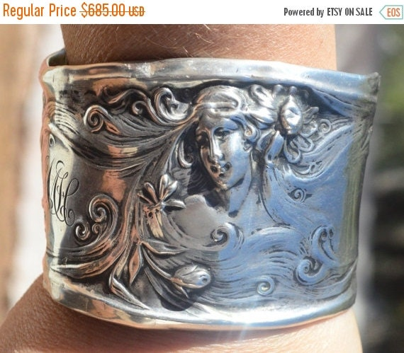 SALE 40% OFF Antique Art Nouveau Solid Sterling Silver 925 Heavy Cuff Bracelet Goddess .925 Lady Face Repoussé Baroque Victorian Maiden Woma